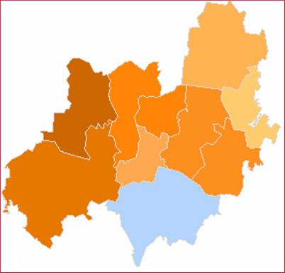 Rozkład głosów w terenie wiejskim