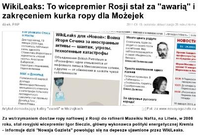 O publikacji WikiLeaks w internecie